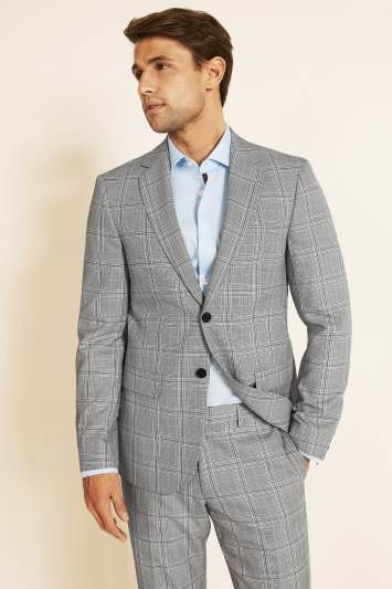 Moss London Slim Fit eco Black and White Sky Check Jacket