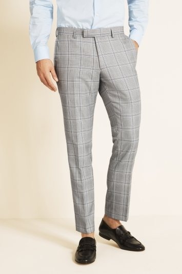 Moss London Slim Fit eco Black and White Sky Check Trousers