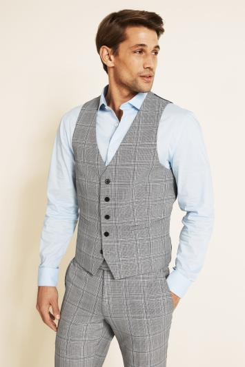 Moss London Slim Fit eco Black and White Sky Check Waistcoat
