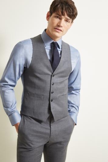 Moss 1851 Slim Fit Grey Twill Waistcoat
