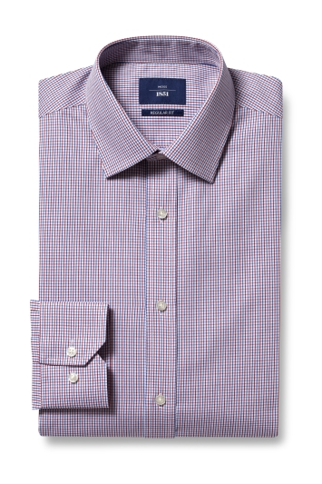 Moss 1851 Regular Fit Red Single Cuff Twill Check Shirt