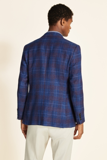 Ermenegildo Zegna Cloth Tailored Fit Navy With Red Check Jacket