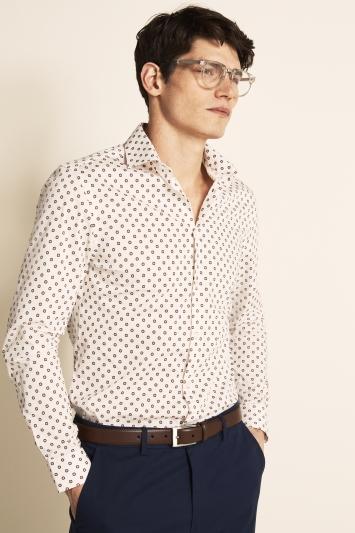 Moss London Slim Fit Red Single Cuff Geo Print Shirt