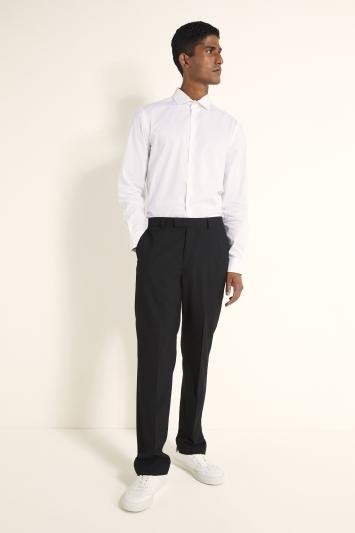 Moss London Slim Fit White Single Cuff Stretch Contrast Trim Shirt