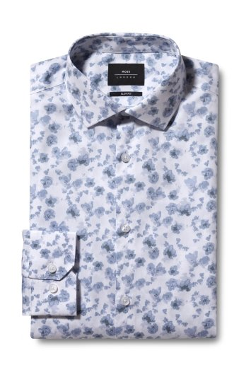 Moss London Slim Fit Grey Single Cuff Floral Print Shirt