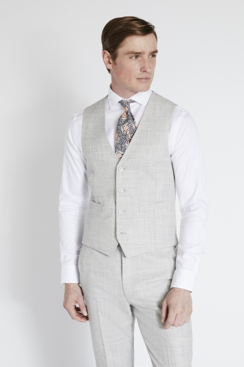 French Connection Slim Fit Light Grey Flannel Waistcoat