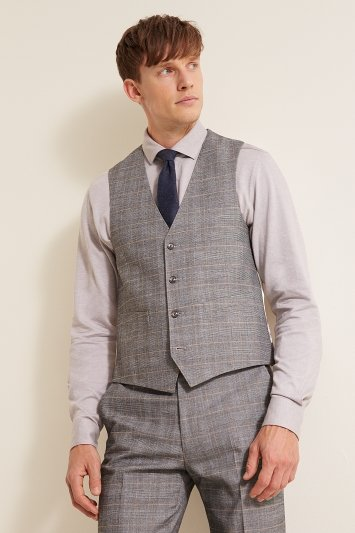 French Connection Slim Fit Grey Check Waistcoat