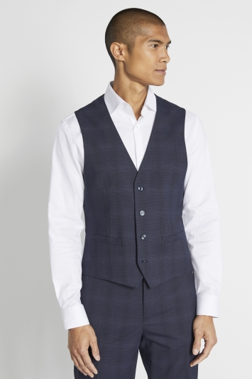 French Connection Slim Fit Navy Check Waistcoat