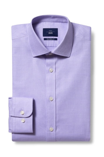 Moss 1851 Tailored Fit Lilac Single Cuff Dobby Shirt