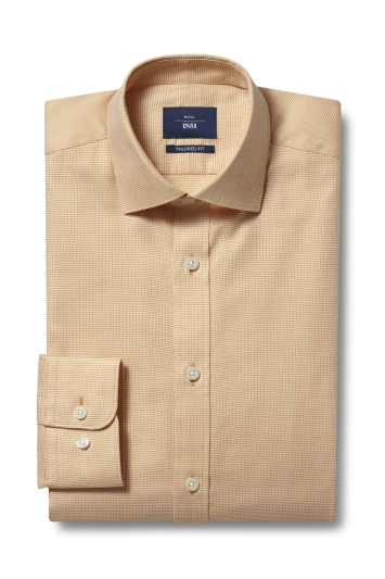 Moss 1851 Tailored Fit Yellow Single Cuff Dobby Shirt
