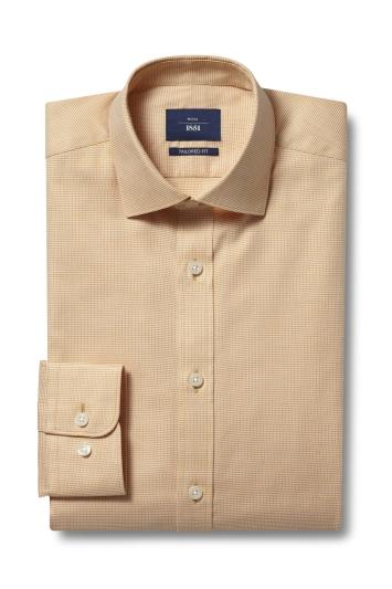 Moss 1851 Tailored Fit Yellow Single Cuff Dobby Shirt