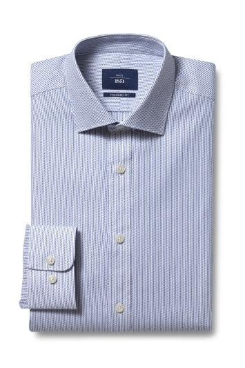 Moss 1851 Tailored Fit Navy Single Cuff Stripe Shirt