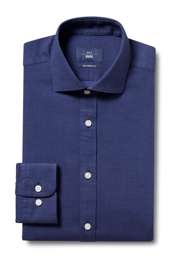 Moss 1851 Tailored Fit Navy Single Cuff Textured Dobby Shirt