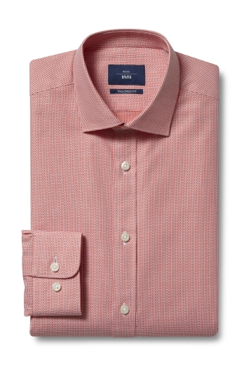 Moss 1851 Tailored Fit Red Single Cuff Dobby Shirt