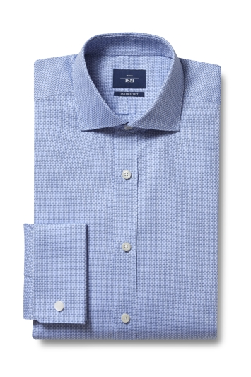 Moss 1851 Tailored Fit Blue Double Cuff Two Tone Dobby Shirt