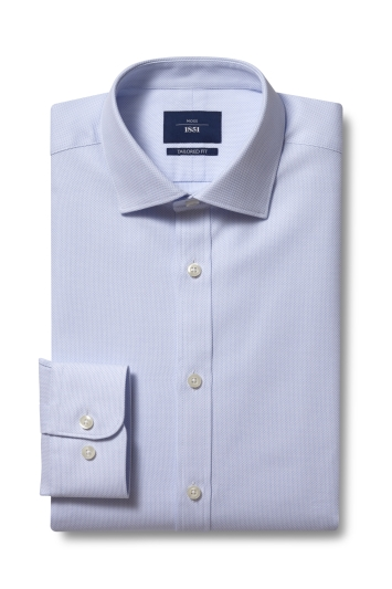 Moss 1851 Tailored Fit Sky Single Cuff Dobby Shirt