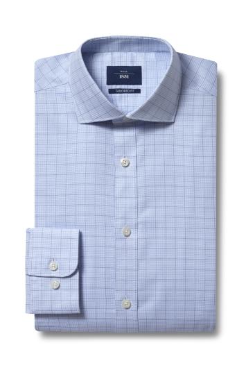 Moss 1851 Tailored Fit Blue Single Cuff Check Shirt