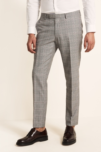 Moss London Slim Fit eco Black and White Raspberry Check Trousers