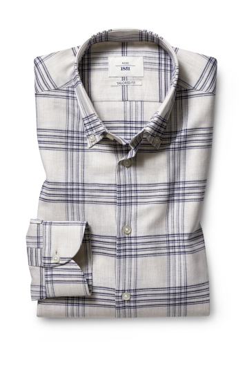 Moss 1851 Tailored Fit Neutral Single Cuff Check Informal Shirt