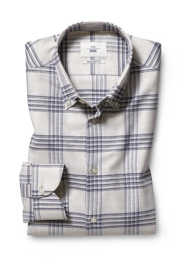 Moss 1851 Tailored Fit Neutral Single Cuff Check Informal Shirt