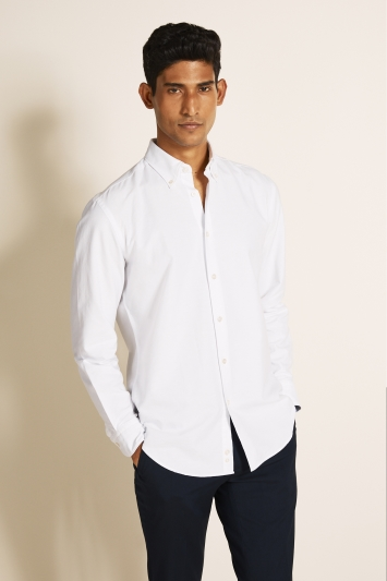 Moss 1851 Tailored Fit White Single Cuff Oxford Shirt