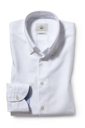 Moss 1851 Tailored Fit White Single Cuff Oxford Shirt