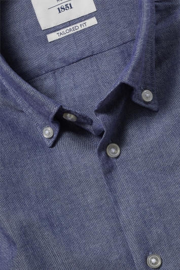 Moss 1851 Tailored Fit Navy Single Cuff Oxford Shirt