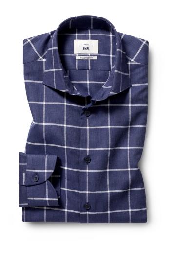 Moss 1851 Tailored Fit Navy Single Cuff Check Informal Shirt