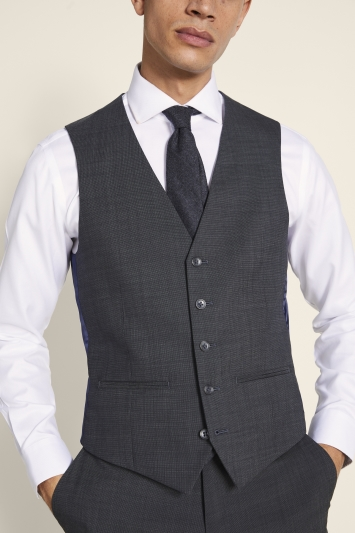Tailored Fit Grey Pindot Eco Waistcoat