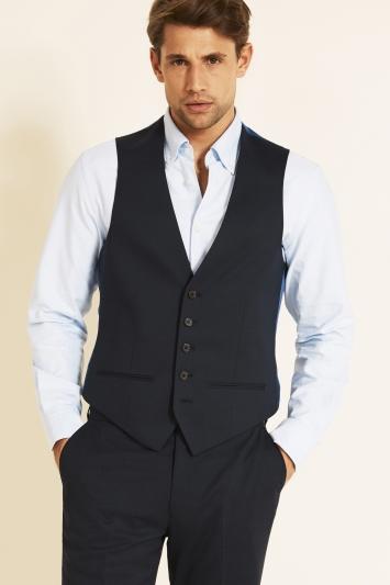 Tailored Fit Navy Pindot Eco Waistcoat