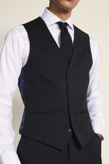 Tailored Fit Black Twill Eco Waistcoat