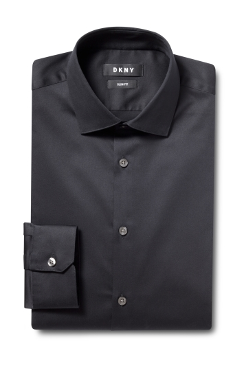 DKNY Slim Fit Black Single Cuff Stretch Shirt