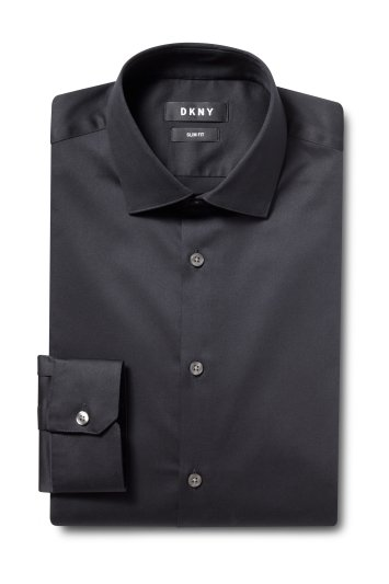 DKNY Slim Fit Black Single Cuff Stretch Shirt