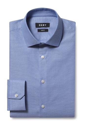 DKNY Slim Fit Blue Single Cuff Dobby Shirt