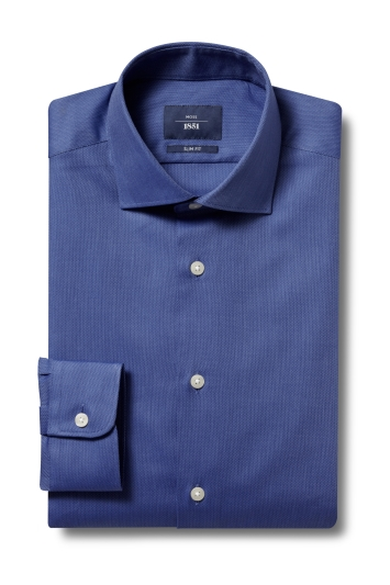 Moss 1851 Slim Fit Blue Single Cuff Textured Shirt