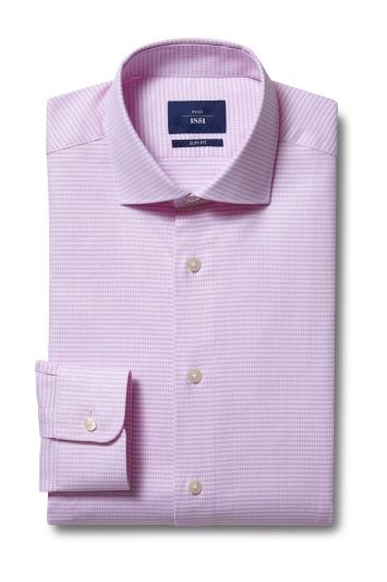 Moss 1851 Slim Fit Pink Single Cuff Dobby Shirt