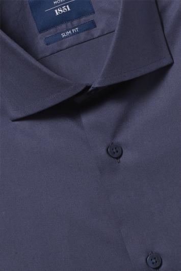 Slim Fit Navy Stretch Contrast Shirt