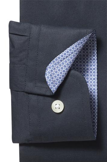 Slim Fit Black Stretch Contrast Shirt