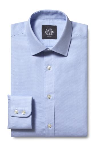 Savoy Taylors Guild Regular Fit Single Cuff Sky Dobby Shirt