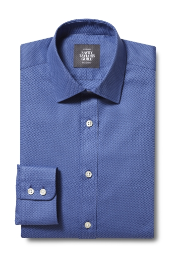 Savoy Taylors Guild Regular Fit Single Cuff Blue Dobby Shirt