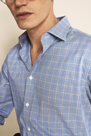 Savoy Taylors Guild Regular Fit Navy Single Cuff Prince of Wales Check Shirt