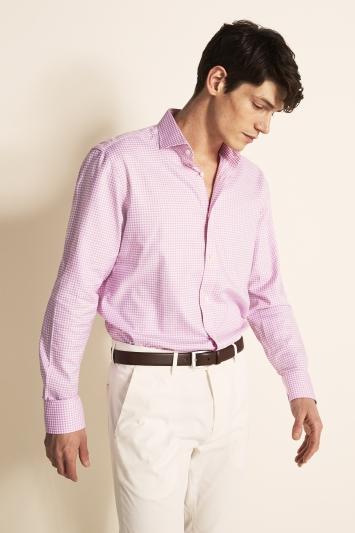 Savoy Taylors Guild Regular Fit Pink Single Cuff Oxford Check Shirt