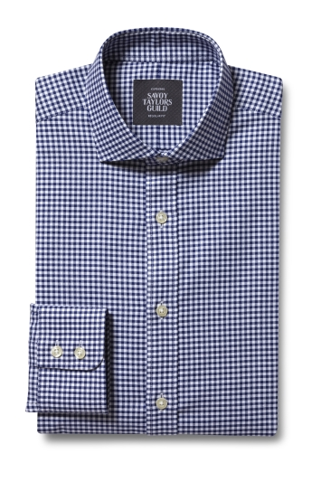 Savoy Taylors Guild Regular Fit Navy Single Cuff Oxford Check Shirt