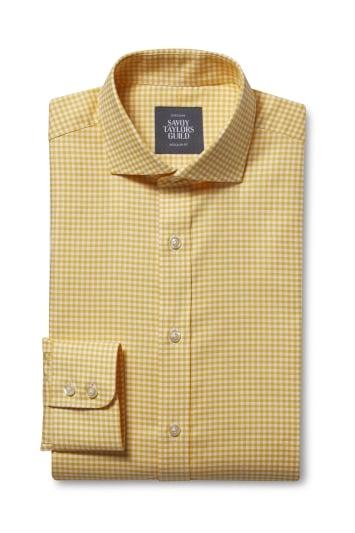 Regular Fit Yellow Oxford Check Shirt