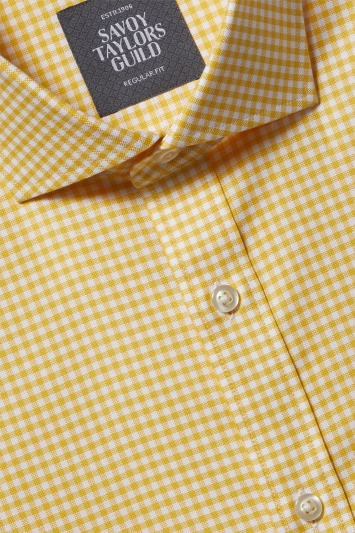 Savoy Taylors Guild Regular Fit Yellow Single Cuff Oxford Check Shirt
