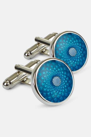 Moss 1851 Silver with Peacock Blue Enamel Circle Cufflink