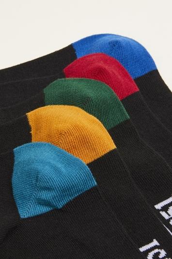 Moss 1851 Black with Multi-Coloured Heel & Toe 5-Pack Cotton-Blend Socks