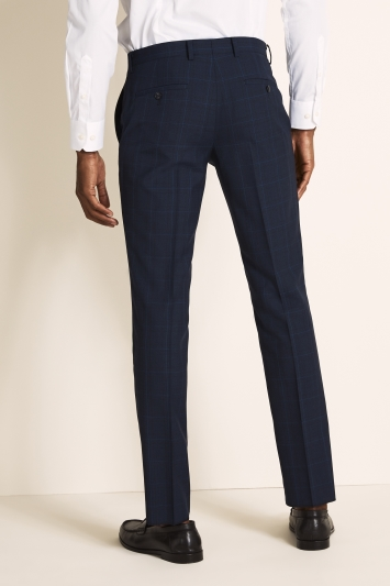DKNY Slim Fit Blue Check Trousers