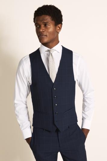 DKNY Slim Fit Blue Check Waistcoat