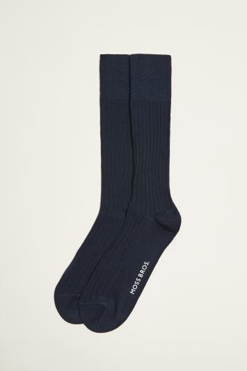 Moss 1851 Navy Fine Ribbed Sock
